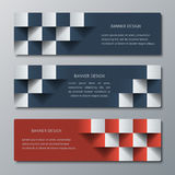 Geometric horizontal banners with the 3D effect for business website. Three template for the header of the site or the advertisement banner royalty free illustration