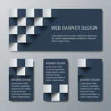 Geometric horizontal and vertical banners with the 3D effect for business website. Four template for the header of the site and advertising banners royalty free illustration