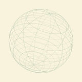 Geometric illustration for dotted 3d wireframe sphere in perspective. Technical illustration for design presentations and advertising about technologies Royalty Free Stock Image