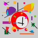 Geometric illustration of retro alarm clock cubism supermatism. A square, a circle of a line. Stylization for the works. Of Malevich in the style of Cubism Royalty Free Stock Image