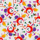 Geometric illustration of alarm clock cubism supermatism. A square, a circle of a line. Stylization for the works of Malevich in t. Geometric illustration of Royalty Free Stock Photos