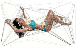 Geometric  illustration of a sexy woman. In spiders web Royalty Free Stock Photo
