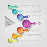 Geometric infographic concept. Vector infographic scheme with colorful circles, triangle and arrows Stock Image