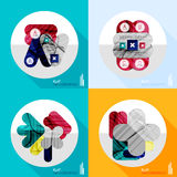 Geometric infographic set in trendy flat style. Modern geometric infographic set in trendy flat style. Business abstract layout collection Stock Photography