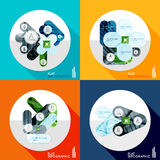 Geometric infographic set in trendy flat style. Modern geometric infographic set in trendy flat style. Business abstract layout collection Royalty Free Stock Photography