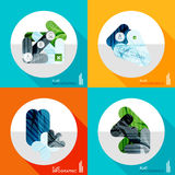Geometric infographic set in trendy flat style. Modern geometric infographic set in trendy flat style. Business abstract layout collection Stock Photo