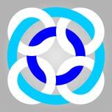 Geometric interlocking circles Graphic Print logo Pattern. CYAN and white color royalty free illustration