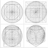 Geometric Intersection Of Cube And Sphere Vector Stock Photo