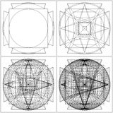 Geometric Intersection Of Sphere And Six Pyramids Vector Royalty Free Stock Image