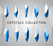 Geometric isolated 3d crystals set. Geometric isolated crystals set. Geometric 3d and outlines shapes for modern backgrounds, trendy icons and logotypes Royalty Free Stock Photos