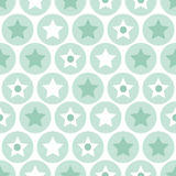 Geometric kids turquoise circles and stars seamless pattern back Royalty Free Stock Image