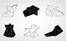 Polygonal line art crystals stock images