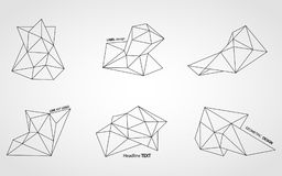 Polygonal line art crystals royalty free stock photo