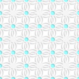 Geometric lace and blue dots seamless. Abstract 3d seamless background. Geometric lace and blue dots with cut out of paper effect stock illustration