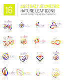 Geometric leaf icon set Royalty Free Stock Images