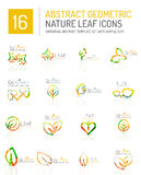 Geometric leaf icon set Stock Images