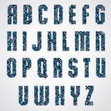 Geometric letters decorated with blue pixel texture. Royalty Free Stock Image
