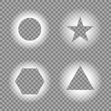 Geometric light effects on transparent background. Light frames, template. Vector illustration for your design. Eps 10 vector illustration