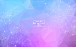 Geometric Light purple Polygonal background molecule and communication. Connected lines with dots. Minimalism background. Concept royalty free illustration