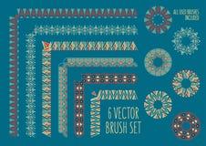 Geometric  line border set. Color vintage fashion pattern for design. Illustration. Royalty Free Stock Image