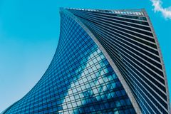 Geometric lines of the busines center. Commercial modern city of the future. Concept of a successful industrial. Architecture royalty free stock image