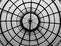 Geometric lines of a glass cupola Royalty Free Stock Images