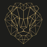 Geometric lion head. Lion head geometric lines silhouette isolated on black background vintage design element Royalty Free Stock Photos