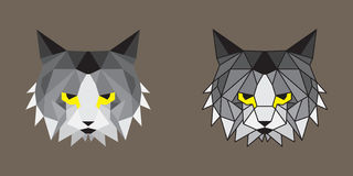 Geometric low poly cats. Geometric low poly cat with and without lines Stock Photos