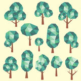 Geometric low poly green tree set Stock Photos