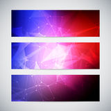 Geometric, lowpoly, abstract modern vector banners Royalty Free Stock Photos