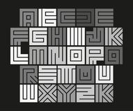 Geometric maze alphabet. Isolated unusual tile letters set, abstract vector white font on black background. Geometric maze alphabet. Isolated unusual tile royalty free illustration