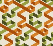 Geometric maze color 3d seamless pattern. Abstract labyrinth texture. Green and orange twisted volumetric ribbons optical illusion on bright background stock illustration