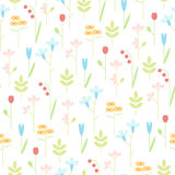 Geometric meadow flowers seamless vector background. Cute flowers pastel colors. Good for the design of a girl or baby Royalty Free Stock Photos