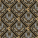Geometric meander seamless pattern with greek key ornaments Royalty Free Stock Images