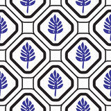 Geometric mediterranean rhombus with leaves seamless tile pattern. Stock Photography