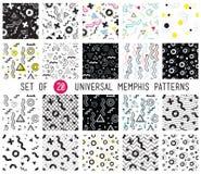 Geometric memphis seamless patterns set Stock Photo
