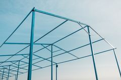 Geometric metal construction. Stock Photo
