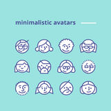Geometric minimalist avatars icons for web site, social network. Set of geometric avatars icons for web site or social network Simple and clean modern design stock illustration