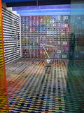 Geometric modern art. Room at MOMA featuring squares silver ball sculpture and colored perspex doors Stock Images