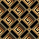 Geometric modern greek key 3d seamless pattern. Abstract vector. Background. Meanders ornament with gold frames, rhombus, circles, shapes, zigzag figures Royalty Free Stock Image