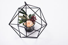Geometric modern home decor. With flowers on white background royalty free stock photos