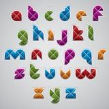 Geometric modern style digital letters alphabet made with rhombu Royalty Free Stock Image
