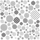 Geometric monochrome abstract background. Black dot and black square in circle Vector Illustration