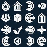 Geometric monochrome abstract vector shapes. Collection of arrow Stock Photos