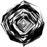 Geometric monochrome element isolated on white. Rough, edgy, tex Royalty Free Stock Images