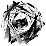 Geometric monochrome element isolated on white. Rough, edgy, tex Stock Image
