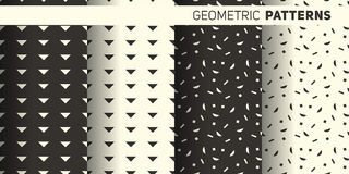 Geometric monochrome patterns. Seamless monochrome geometrical patterns set for the background Stock Photography