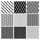 Geometric Monochrome Seamless Background Patterns Stock Photography