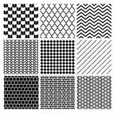 Geometric Monochrome Seamless Background Patterns Stock Photos