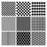 Geometric Monochrome Seamless Background Patterns. Set of 9 Black Geometric Monochrome Seamless Backgrounds with Pattern Swatches. Transparent Background. Vector Royalty Free Stock Photos